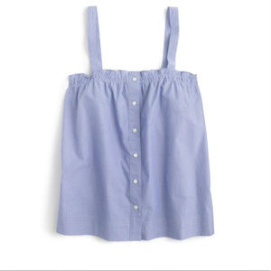 J Crew Button-front ruffle top blue, size 2